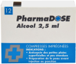 Alcool a usage medical gilbert 2,5 ml, compresse imprégnée